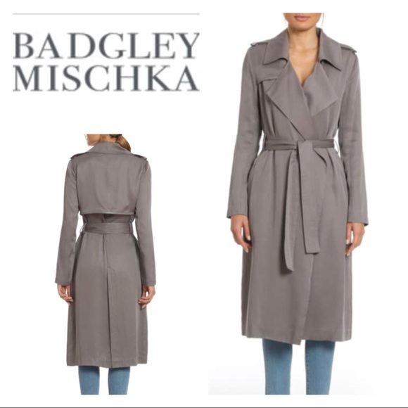 9e7544a51c3 Badgley Mischka Jackets & Blazers - Badgley Mischka Faux Leather Trim Long  Trench Coat